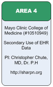 Area 4:Mayo Clinic College of Medicine(#10510949) Secondary Use of EHR Data PI: Christopher Chute, MD, Dr. P.H http://sharpn.org